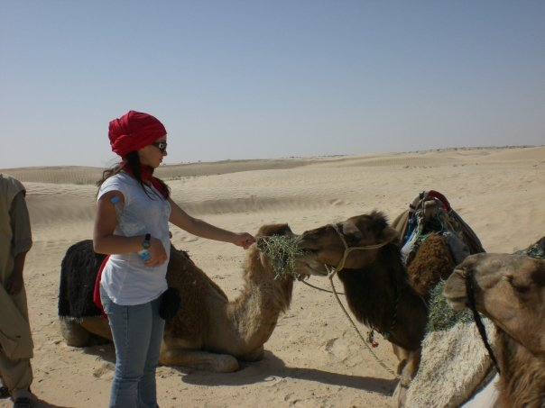Kristen feeding camels in Tunisia
