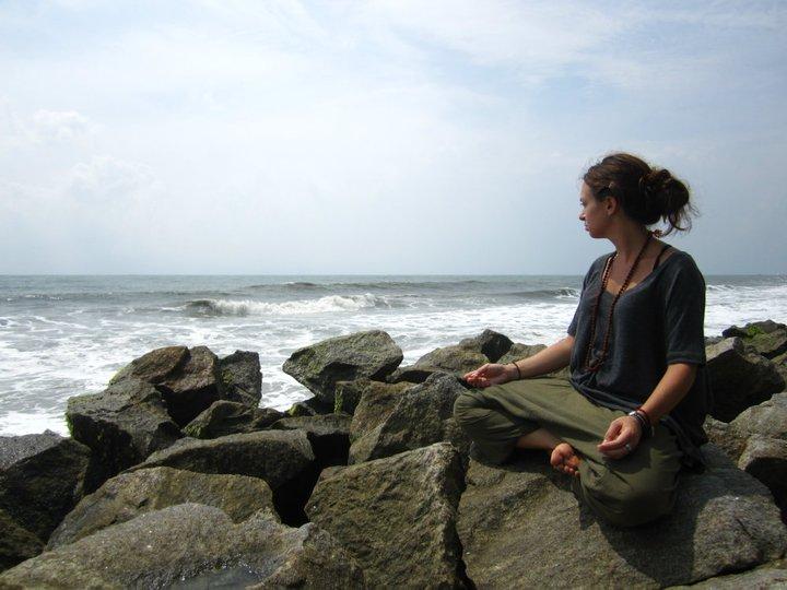 Meditating in India