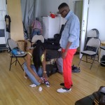 My business partner, Bianca Brown, adding the last touches on Yannick's look.