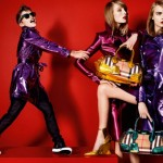 Romeo Beckham poses with Cara Delevingne in matching metallic macs for Burberry's Spring 2013 Campaign
