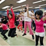 Lakeshore Collegiate students held a pink flash mob in the school cafeteria during their lunch hour in April 2012