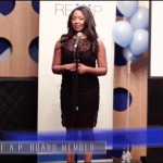 Pauleanna Reid gives a keynote speech at REAP launch event