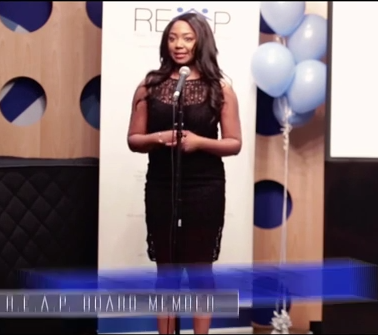 Pauleanna Reid gives a keynote speech at REAP launch event